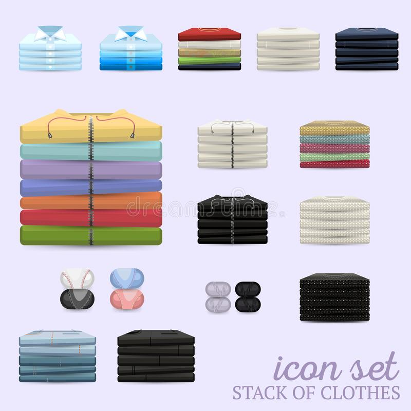 Free Stack Of Clothes Vector Icon Set Royalty Free Stock Photography - 127206377