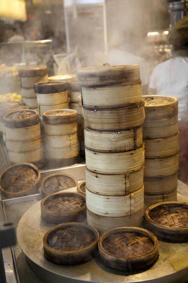 Free Stack Of Dim Sum Bamboo Container Royalty Free Stock Image - 20592366