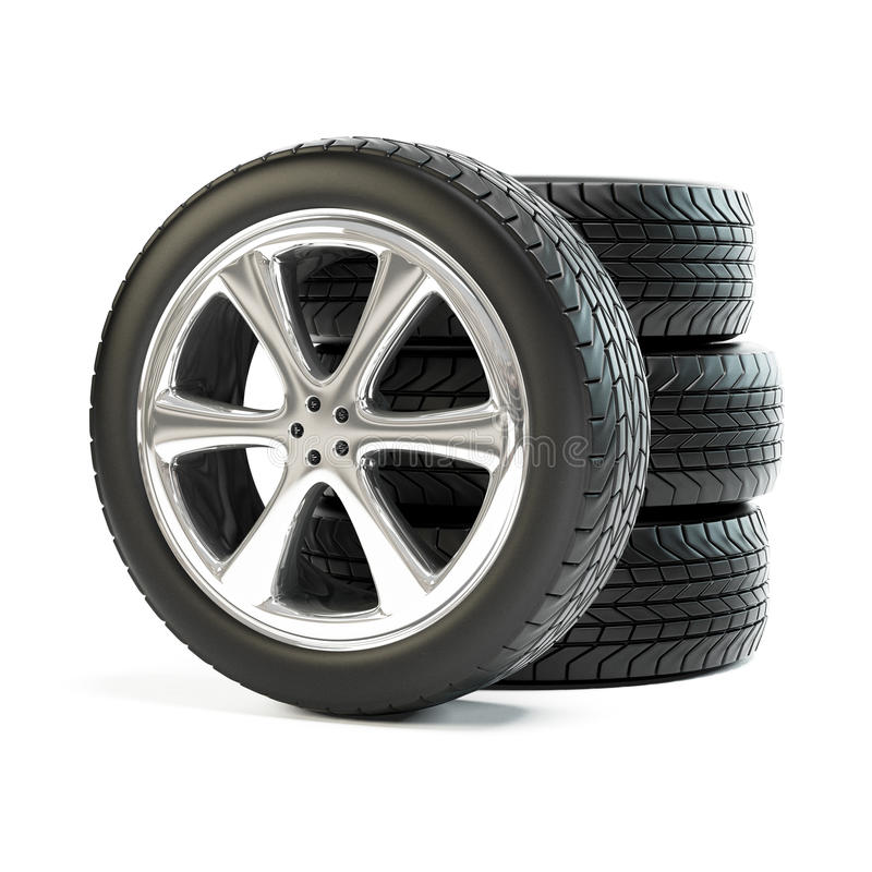 Free Stack Of Four New Car Wheels Royalty Free Stock Photo - 43298895