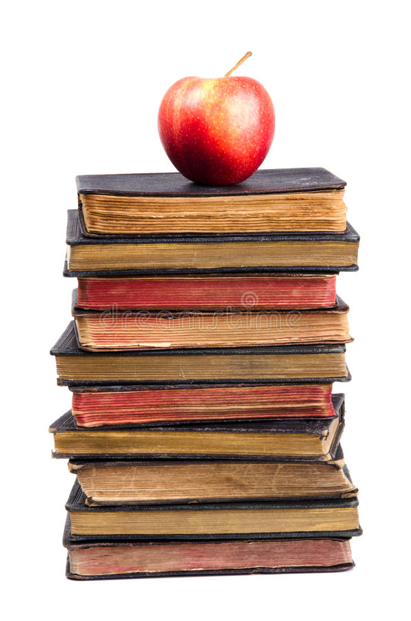 Free Stack Of Old Books And Apple On It Royalty Free Stock Photos - 21861018