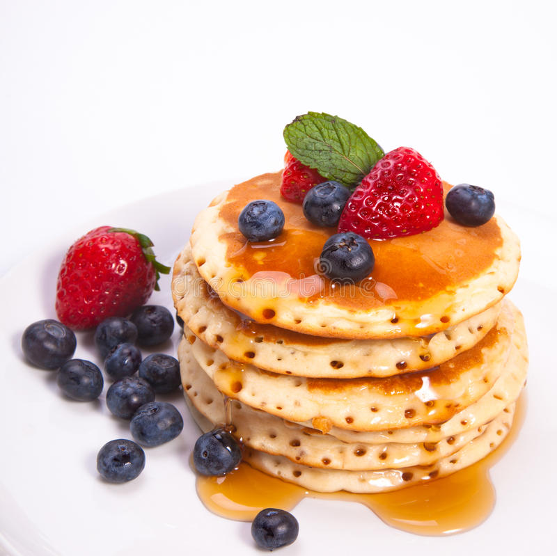 Free Stack Of Pancakes With Fruits Royalty Free Stock Photos - 23253498