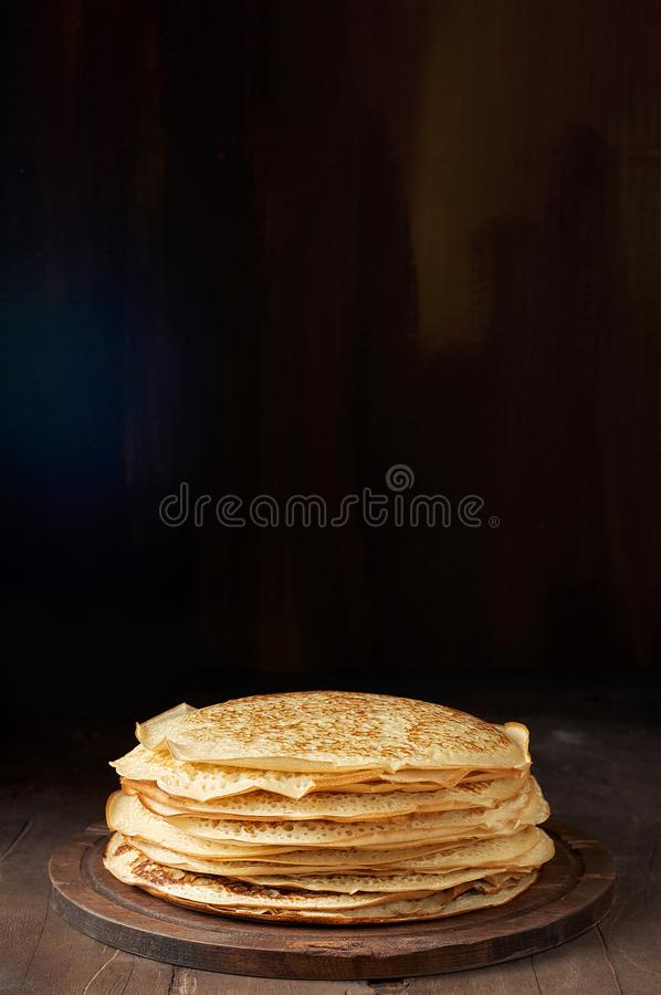 Free Stack Of Russian Pancake Blini On A Wooden Background Stock Photo - 137101700