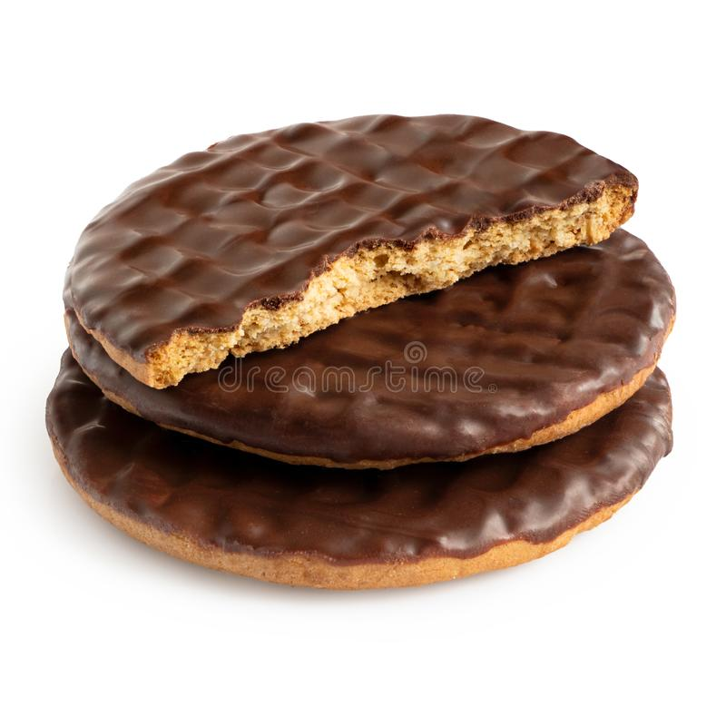 Free Stack Of Two And Half Dark Chocolate Coated Digestive Biscuits Isolated On White Stock Photography - 165012552