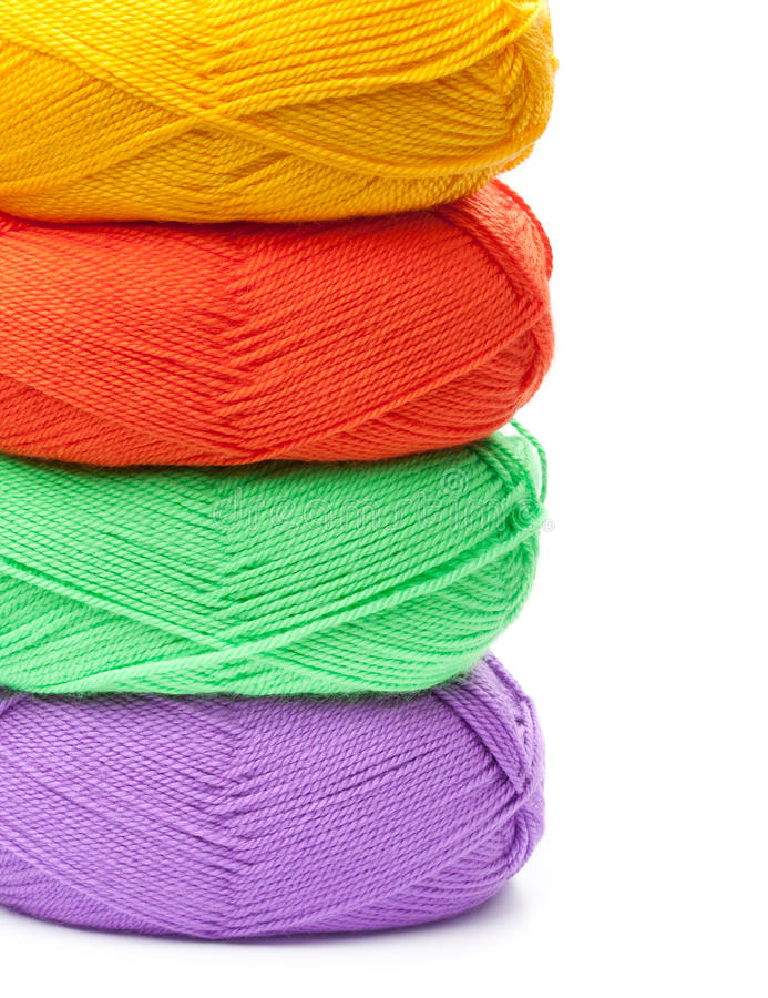 Free Stack Of Yarn Skeins In Red, Yellow, Green, Purple Colors Royalty Free Stock Photos - 38960848