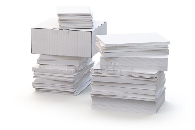 A stack of office papers and a white box. 3d render vector illustration