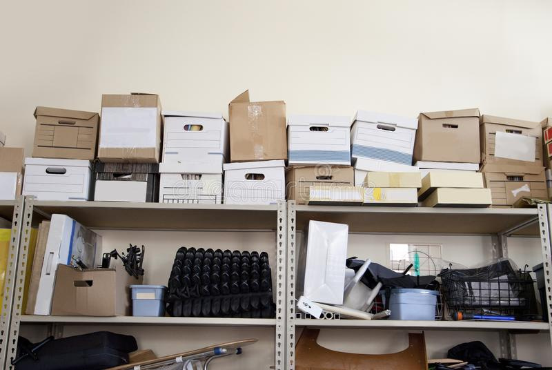 Bankers boxes in an office stock photography