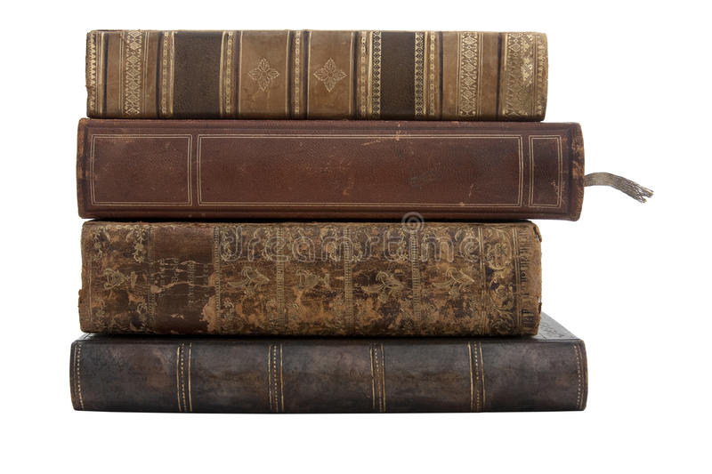 A stack of old antique books royalty free stock image