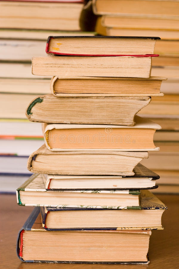 Stack of old books. At public library royalty free stock photo