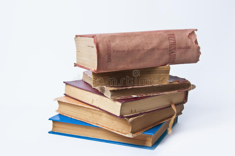 Stack of Old Books. Old books on white background stock photo