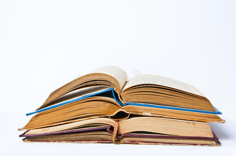 Stack of Old Books. Old books on white background royalty free stock images