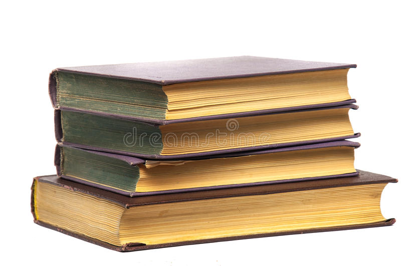 Stack of old books isolated stock photo