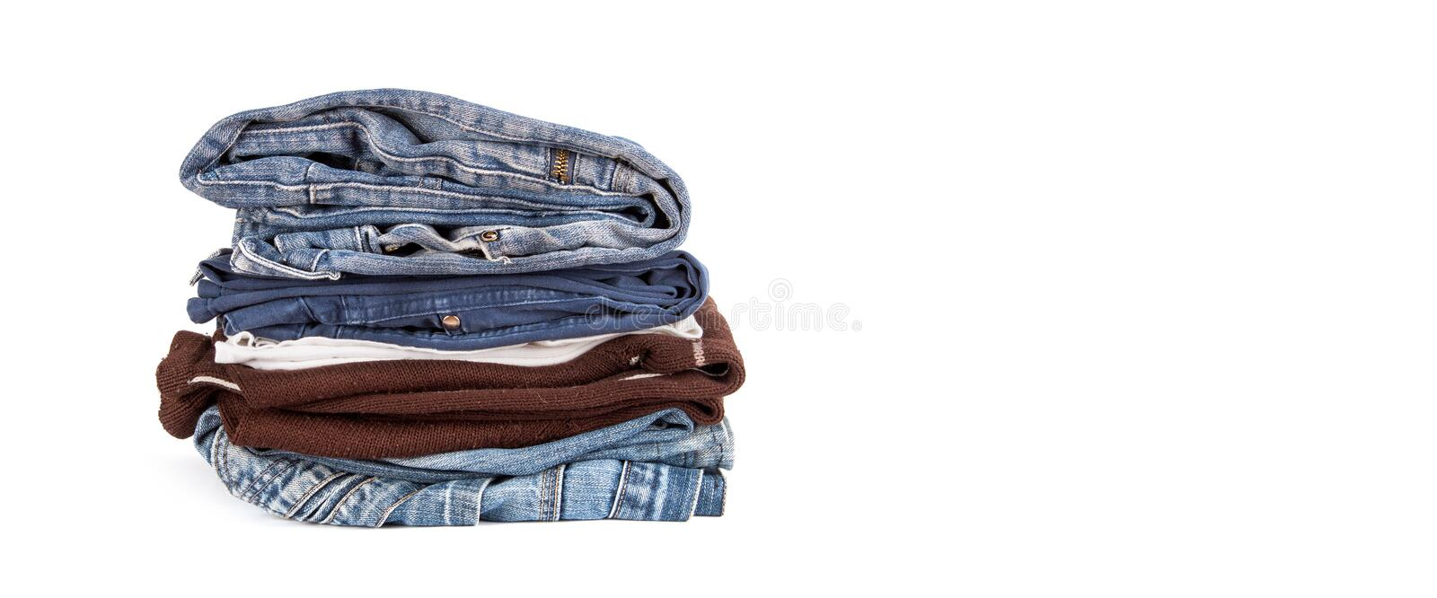 Stack of old clothes royalty free stock photos