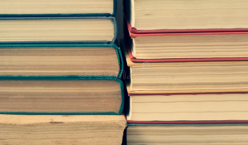 Stack of old colorfull books stock photo