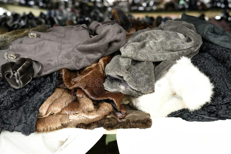 Fur coat displayed at the flea market. royalty free stock photo