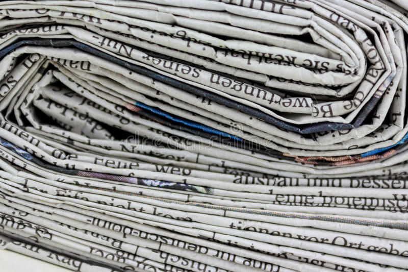 Stack of old newspapers, pile of old newspapers royalty free stock photography