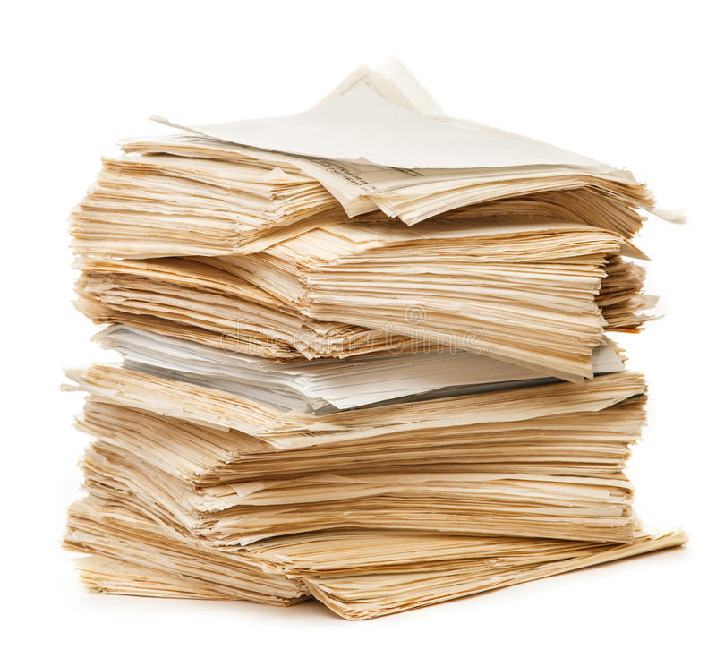 Stack of old paper stock image