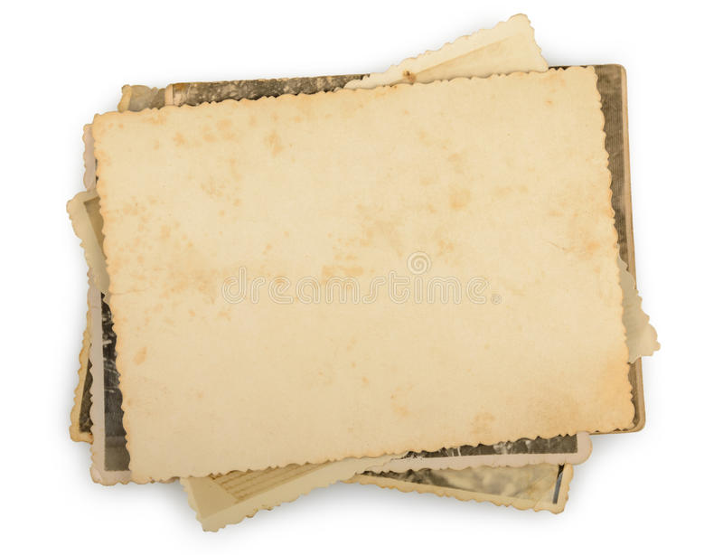 Stack of old photos isolated. On a white royalty free stock photos
