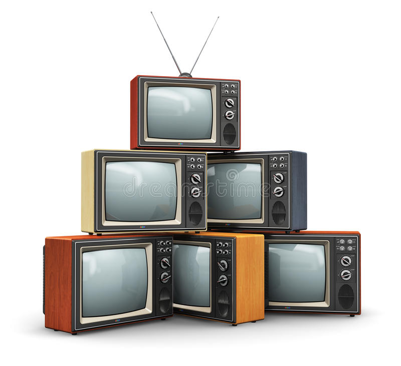 Stack of old TV. Creative abstract communication media and television business concept: stack or pile of old retro color wooden home TV receiver sets with