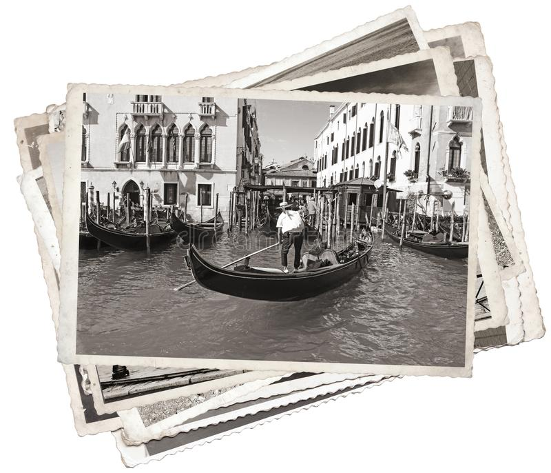 Stack of old vintage photos in Venice stock photo