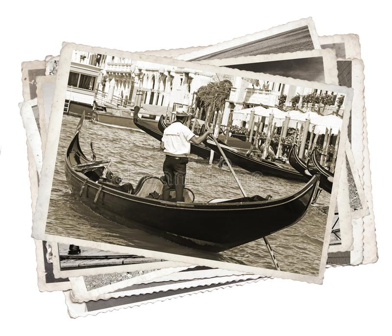 Stack of old vintage photos in Venice. Italy royalty free stock images