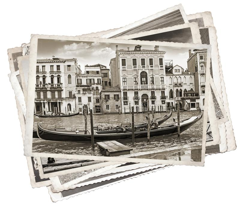 Stack of old vintage photos in Venice. Italy royalty free stock photography
