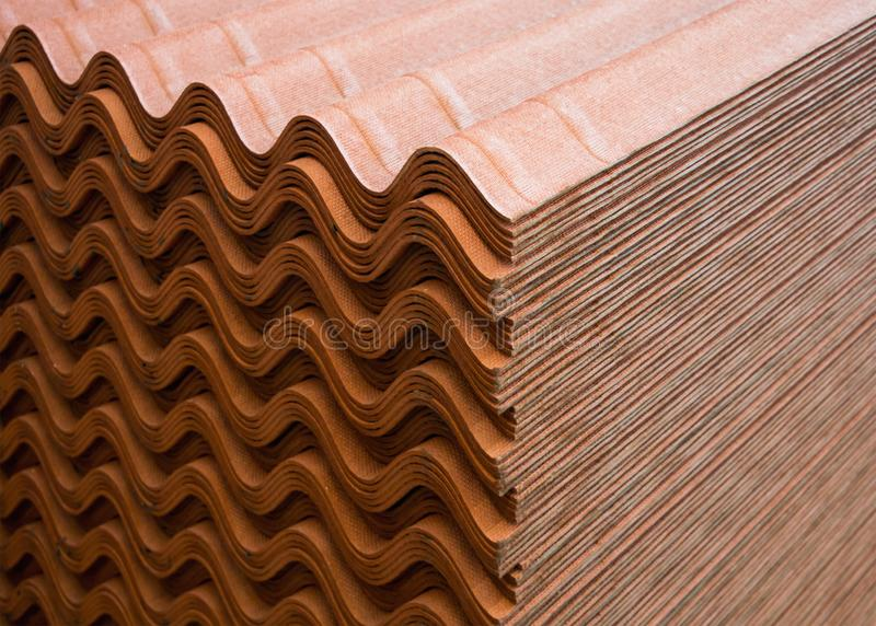 A stack of ondulin sheets - a modern roofing material.  stock image