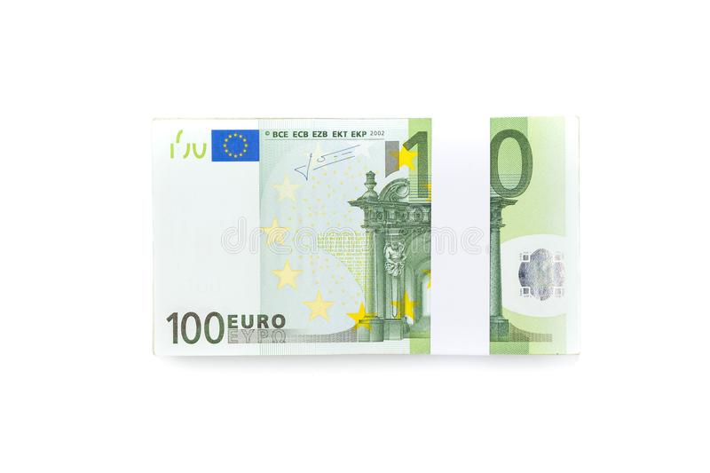 Stack of one hundred euro bills isolated on white background for royalty free stock images