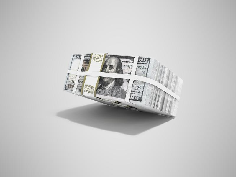 Stack of pack of dollars falling on half 3d render on gray background with shadow stock illustration