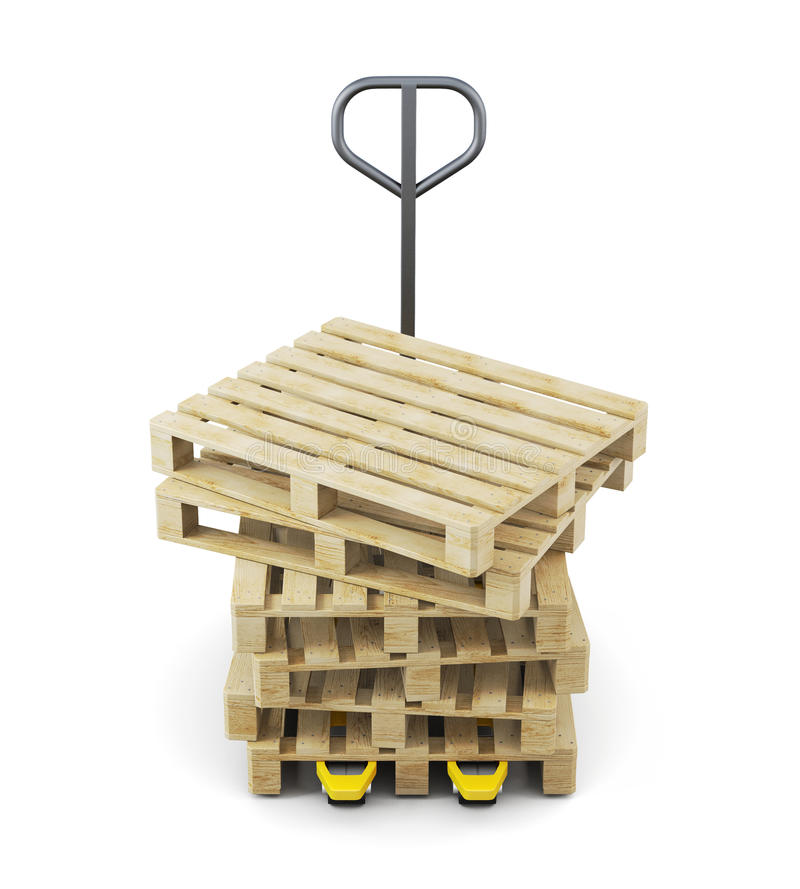 Stack of pallets on a forklift isolated on white background. 3d royalty free illustration