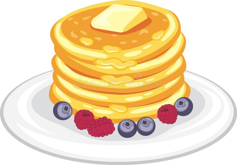 Stack of pancakes with honey, butter and berries royalty free stock photo