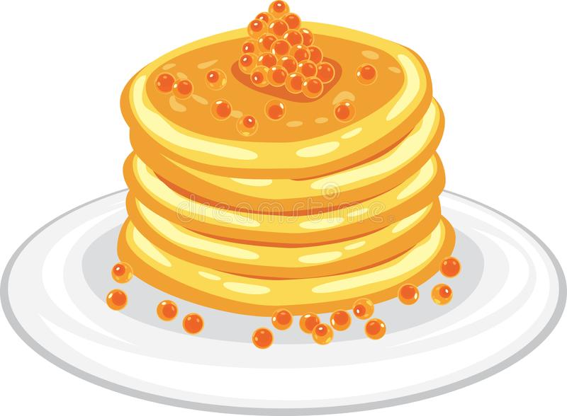 Stack of pancakes with red caviar stock image