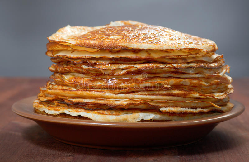 Stack of pancakes - russian traditional food stock photo