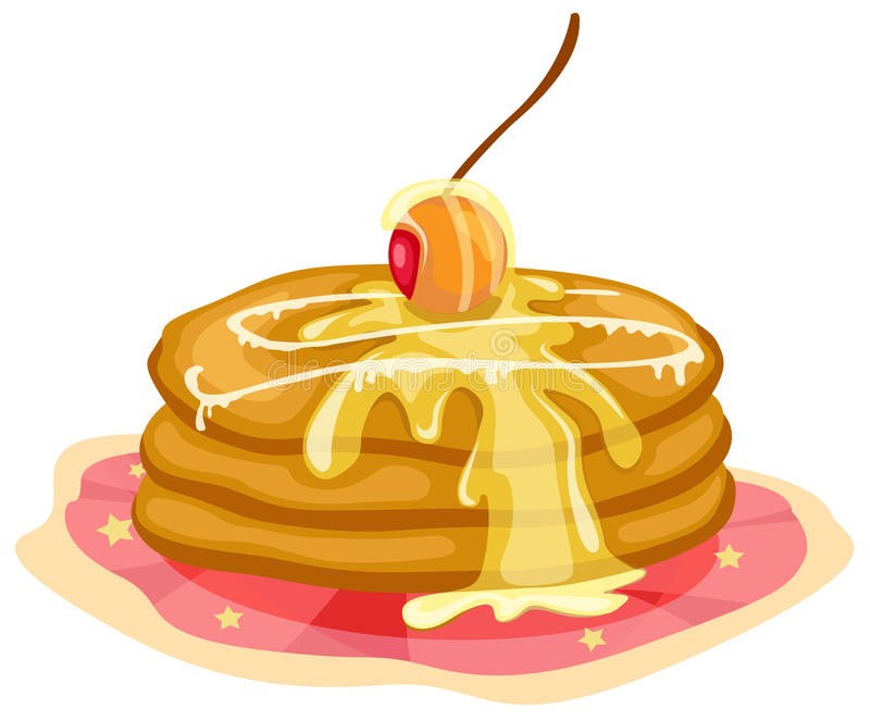Stack of pancakes with syrup. Illustration of isolated stack of pancakes with syrup vector illustration