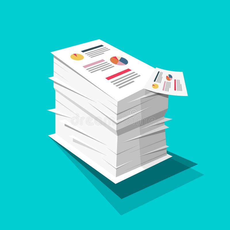 Stack of Paper Business Documents with Graphs and Text Pile. Vector Flat Design Documents Illustration on Blue Background royalty free illustration