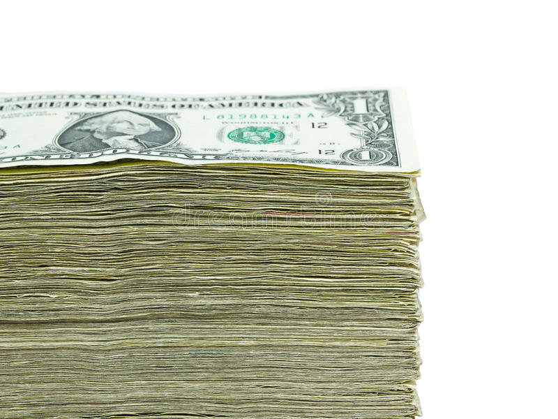 Stack Of Paper US Currency Stock Image