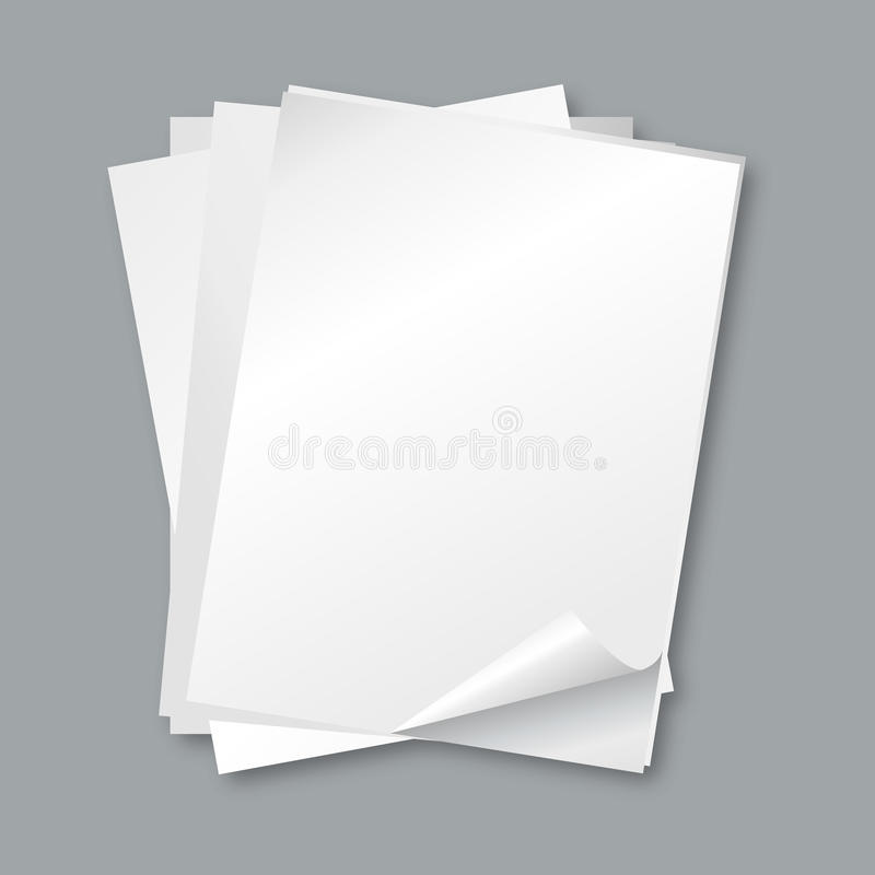 Stack of papers. blank white paper sheets, letter vector background royalty free illustration