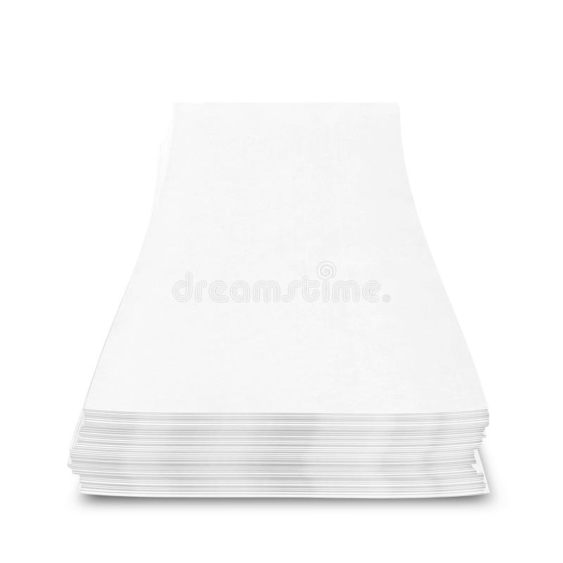 Stack of papers with curl on white background vector illustration