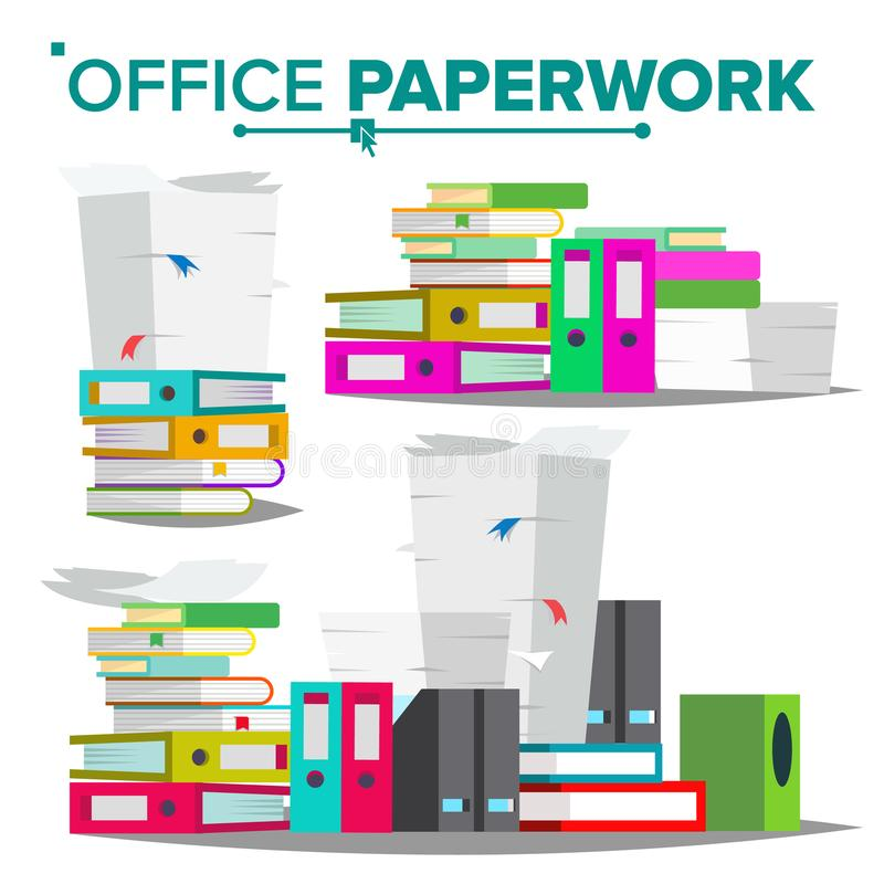 Stack Of Papers, File Folders Vector. Cluttered Documentation. Accounting Bureaucracy. Isolated Flat Illustration. Stack Of Papers, File Folders Vector vector illustration