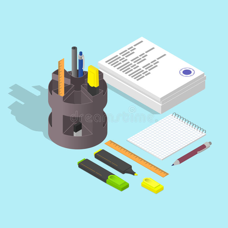 Stack of papers. The stamp on the document. vector illustration