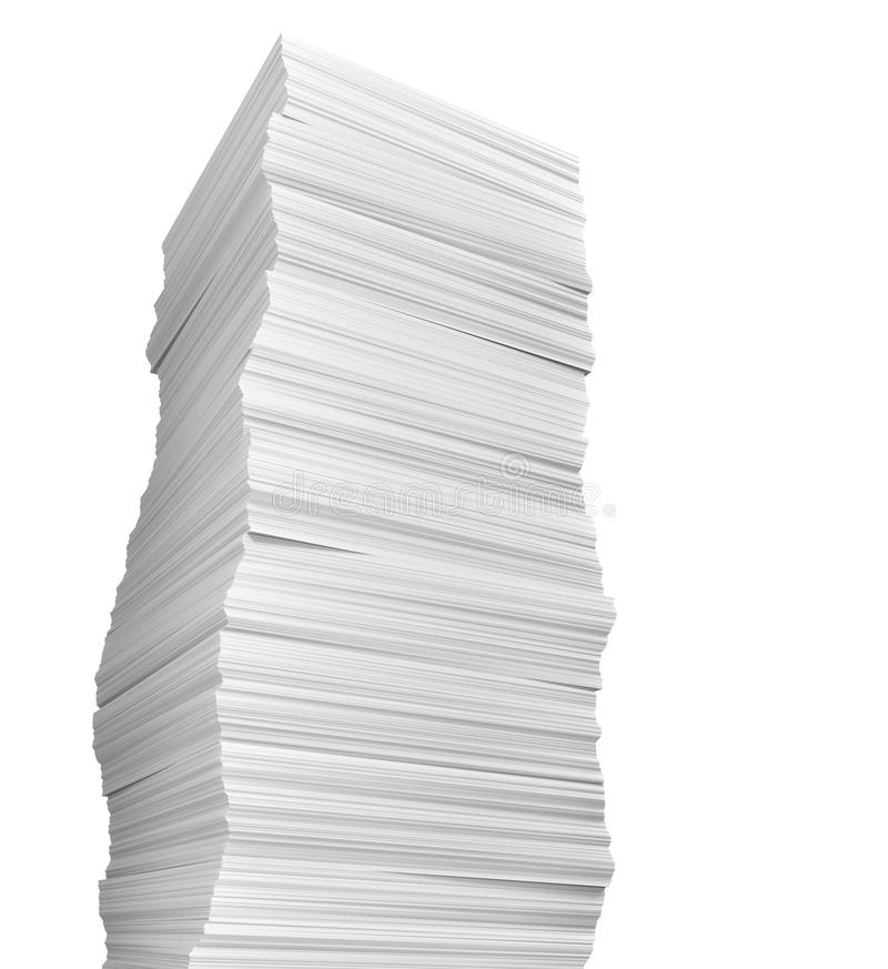 Stack of papers on white background royalty free illustration