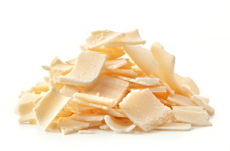 A stack of Parmesan flakes stock photo