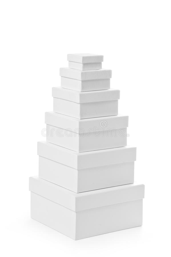 Stack Of Pasteboard Square Gift Boxes Stock Images