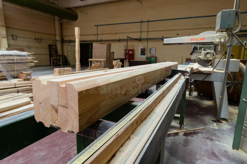 Stack of pile wood bar in lumber yard factory used in wood-processing industry stock images
