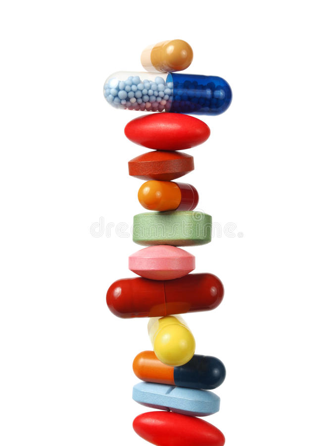 Stack of pills and capsules royalty free stock photography
