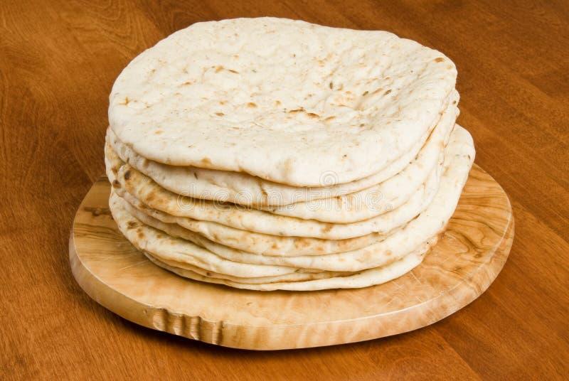 Stack of Pita Bread royalty free stock photo