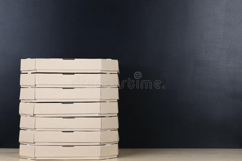 Stack of pizza boxes royalty free stock photography