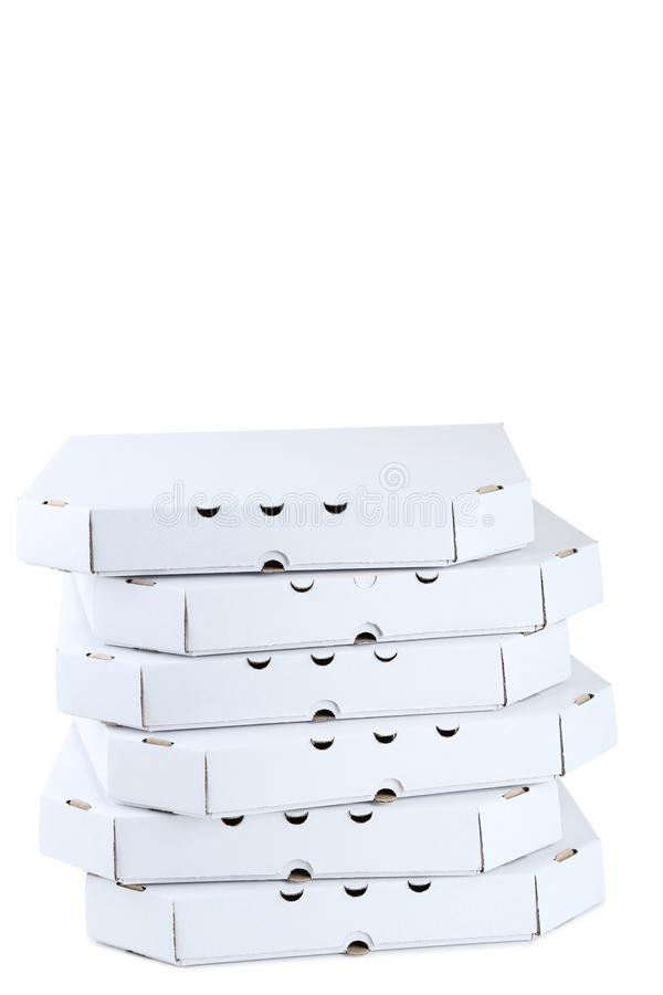 Stack of pizza boxes stock images