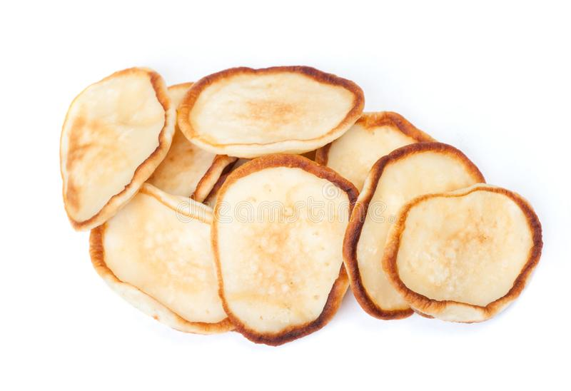 Stack of plain pancakes royalty free stock photo