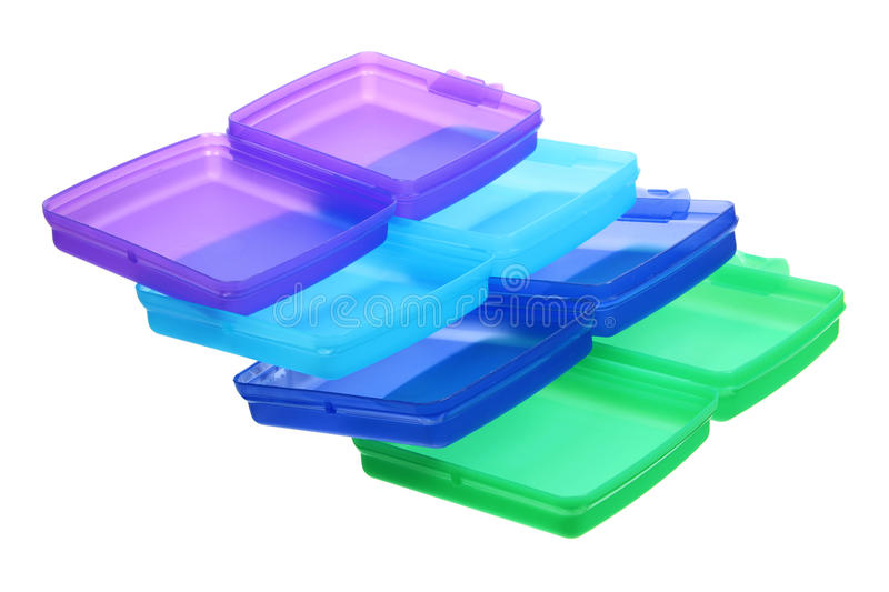 Stack of Plastic Containers. On White Background stock photography