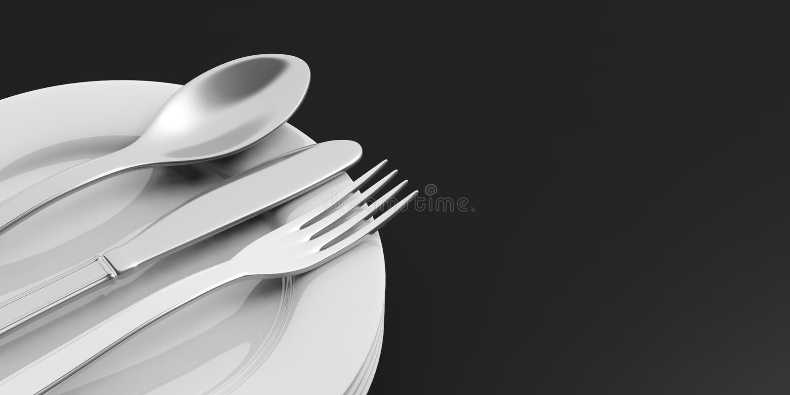 Stack of plates and cutlery on black background vector illustration